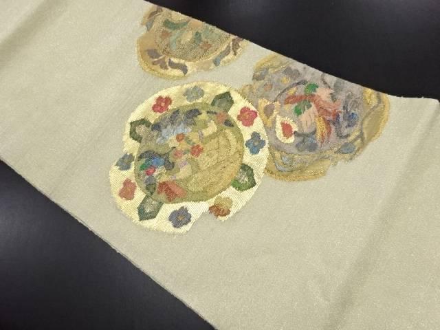 【IDN】 金通し割れ絵皿に人物・花鳥更紗模様織り出し袋帯【リサイクル】【中古】【着】