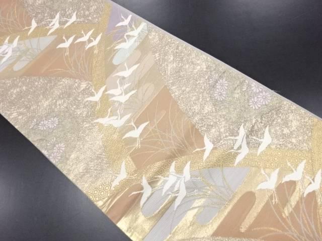 【IDN】 本金群鶴に菊・ヱ霞模様織り出し袋帯【リサイクル】【中古】【着】