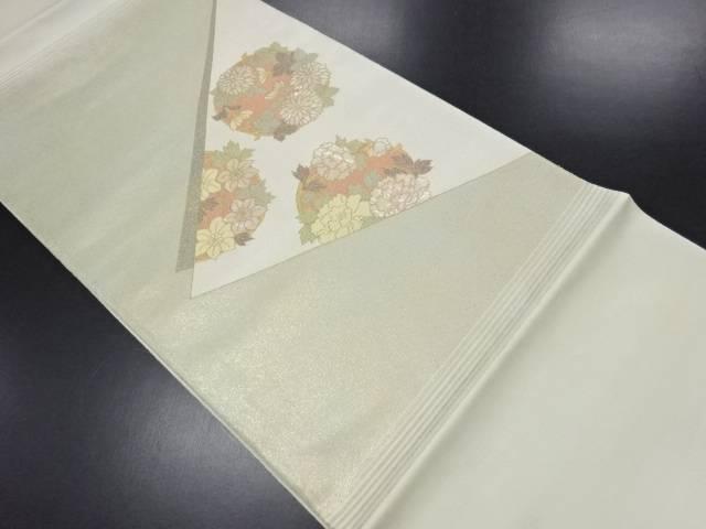 【IDN】 引き箔螺鈿菊・牡丹模様袋帯【リサイクル】【中古】【着】