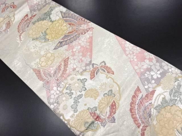 【IDN】 佐賀錦蝶に花丸紋織出袋帯【リサイクル】【中古】【着】