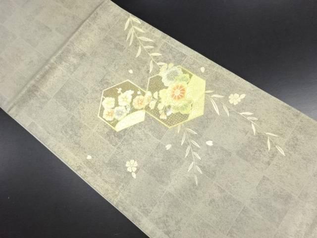 【IDN】 箔置き亀甲に菊梅模様刺繍袋帯【リサイクル】【中古】【着】
