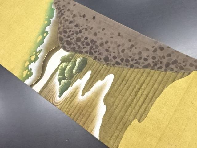 【IDN】 未使用品 作家物 手織り真綿紬枯山水模様袋帯【リサイクル】【着】