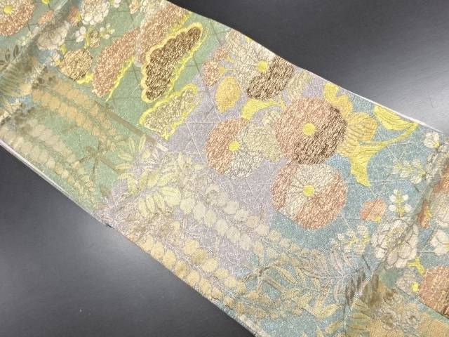 【IDN】 七福織物製 松菊藤模様織り出し袋帯【リサイクル】【中古】【着】