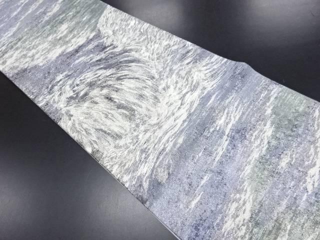【IDN】 銀糸抽象荒波模様織り出し袋帯【リサイクル】【中古】【着】