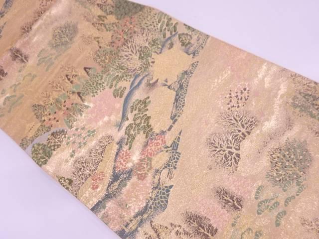 【IDN】 未使用品 家屋風景模様織出し袋帯【リサイクル】【着】