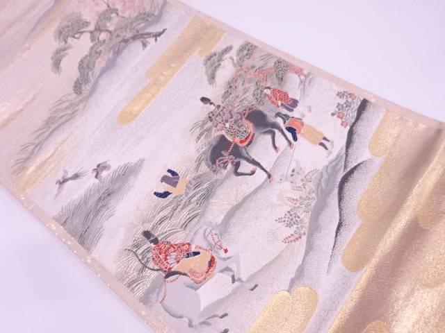 【IDN】 ヱ霞に時代人物・狩猟模様織出し袋帯【リサイクル】【中古】【着】