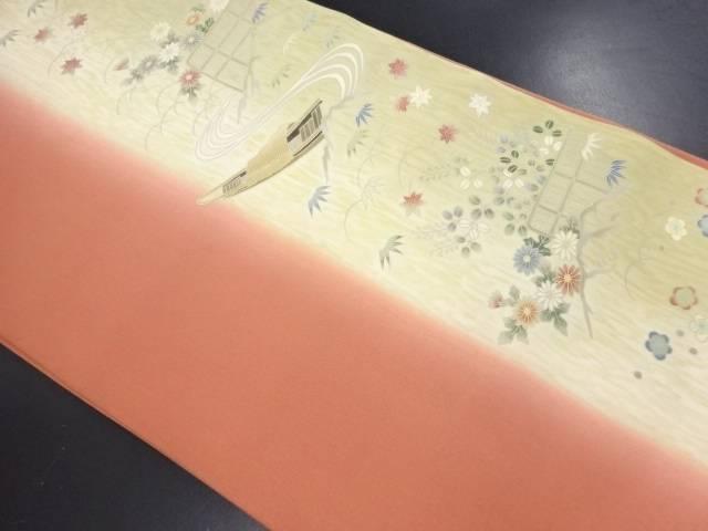 【IDN】 塩瀬小舟に菊・紅葉・笹模様名古屋帯【リサイクル】【中古】【着】