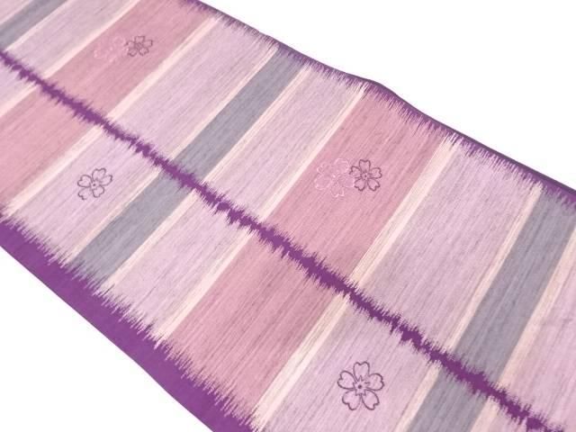 【IDN】 市田織物製 変わり横段に桜模様織出し袋帯【リサイクル】【中古】【着】