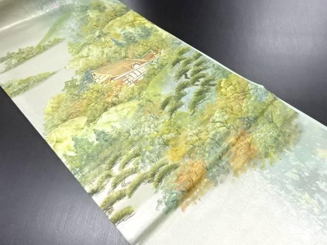 【IDN】 作家物 箔置き螺鈿 寺院・樹木風景模様袋帯【リサイクル】【中古】【着】