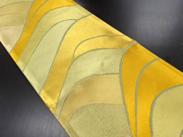 【IDN】 未使用品 葵屋みつぎ織物製 本金 波模様織り出し全通袋帯(未仕立て)【リサイクル】【着】