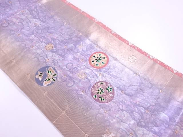 【IDN】 引箔玉虫に蝶・花鳥模様刺繍袋帯【リサイクル】【中古】【着】