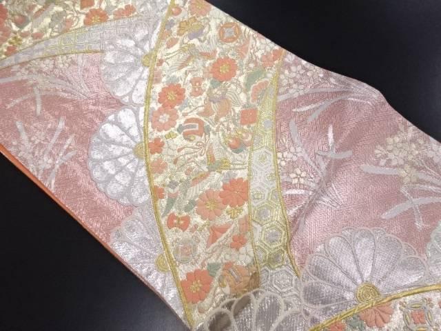 【IDN】 佐賀錦鶴に宝尽くし菊模様織り出し袋帯【リサイクル】【中古】【着】