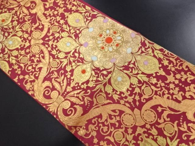 【IDN】 金糸華紋更紗模様織り出し袋帯【リサイクル】【中古】【着】