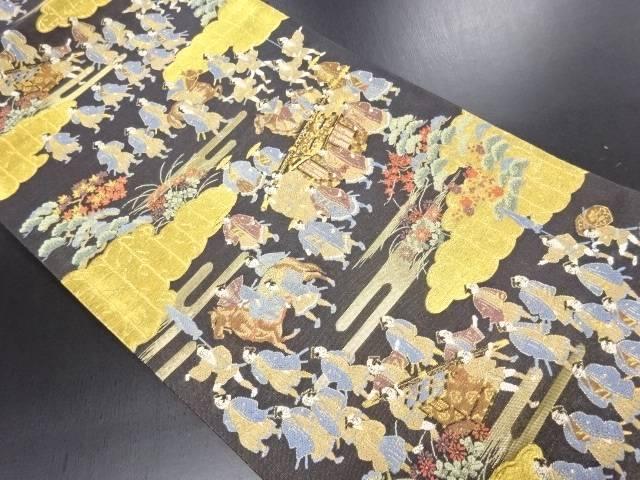 【IDN】 本金箔 雲取に大名行列模様袋帯【リサイクル】【中古】【着】
