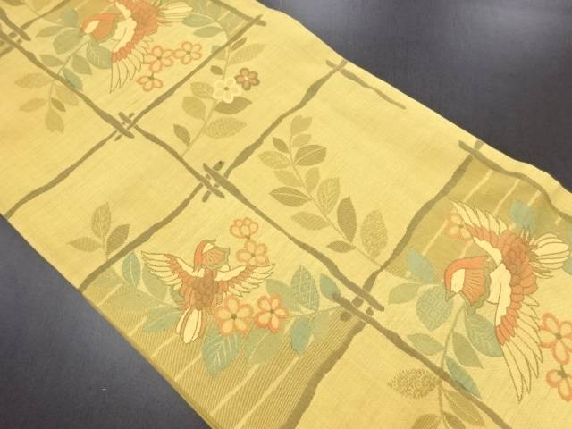 【IDN】 格子に花・鴛鴦模様織り出し洒落袋帯【リサイクル】【中古】【着】