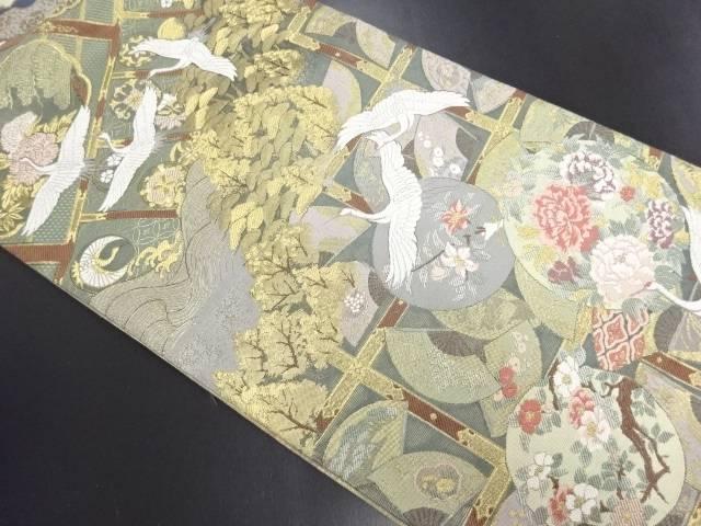 【IDN】 本金群鶴に松華紋織り出し袋帯【リサイクル】【中古】【着】