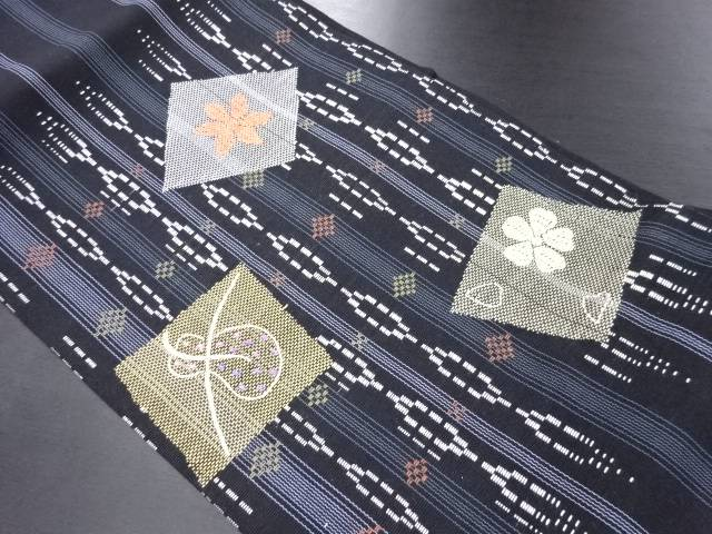 【IDN】 縞に花菱・瓢箪模様織り出し名古屋帯【リサイクル】【中古】【着】