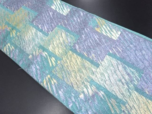 【IDN】 変わり市松によろけ縞模様織り出し袋帯【リサイクル】【中古】【着】