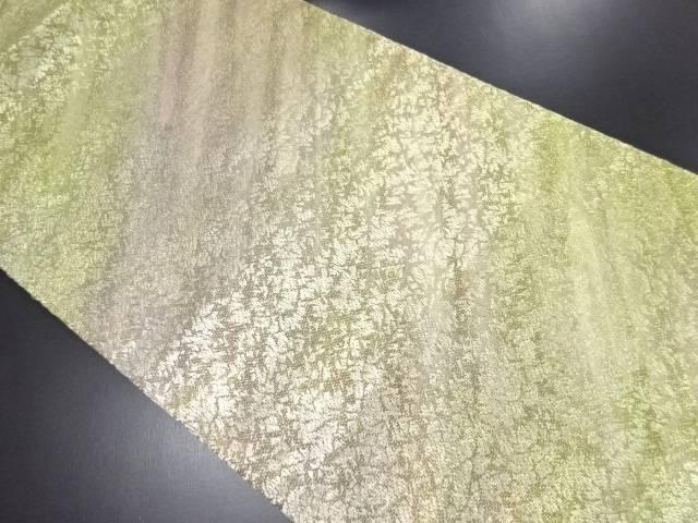 【IDN】 金糸 斜め縞に花模様織り出し全通袋帯【リサイクル】【中古】【着】