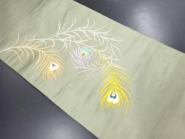 【IDN】 繻子地孔雀羽根模様刺繍丸帯【大正ロマン】【中古】【着】