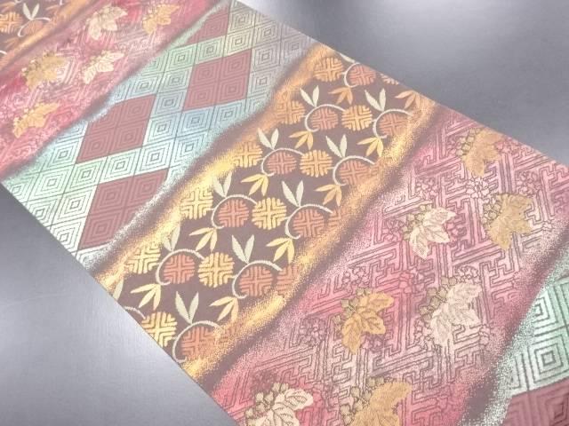 【IDN】 引き箔横段に笹蔓文・桐模様織り出し名古屋帯【リサイクル】【中古】【着】