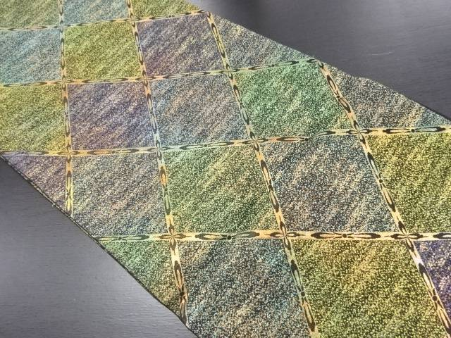 【IDN】 金糸斜め格子模様織り出し全通袋帯【リサイクル】【中古】【着】