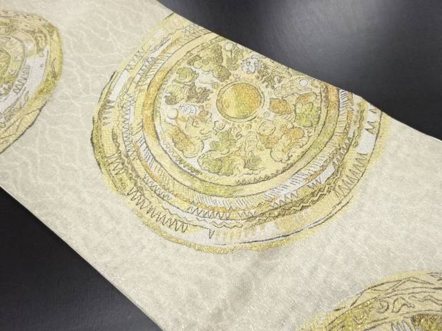 【IDN】 金糸鏡裏模様織り出し袋帯【リサイクル】【中古】【着】