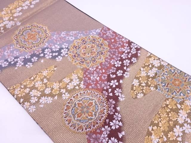 【IDN】 桜に宝相華模様織出し袋帯【リサイクル】【中古】【着】