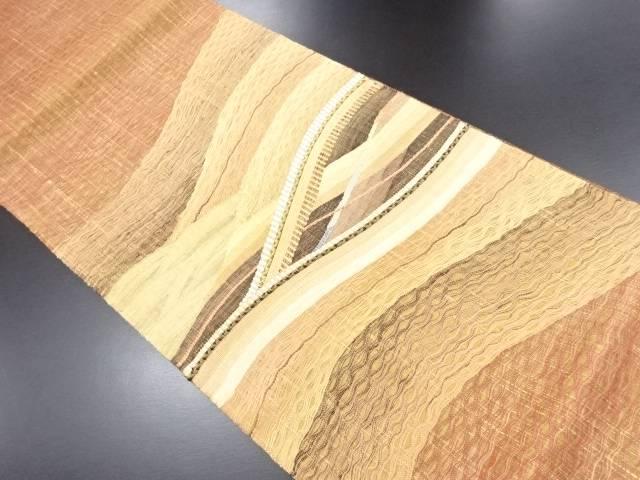 【IDN】 紗すくい織抽象波模様織り出し袋帯【リサイクル】【中古】【着】