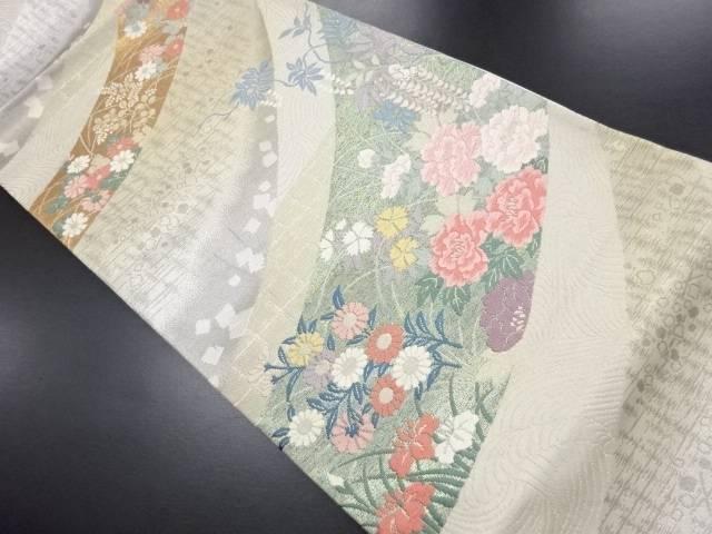 【IDN】 金銀糸草花に箔散らし模様織り出し袋帯【リサイクル】【中古】【着】
