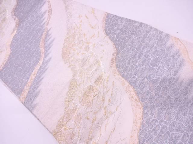 【IDN】 斜め縞に抽象模様織出し袋帯【リサイクル】【中古】【着】