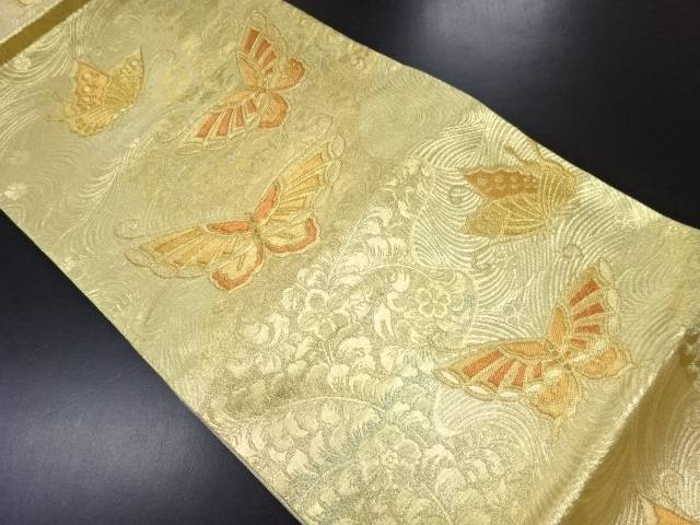 【IDN】 未使用品 洛西織物製 本金箔波に花蝶模様織り出し袋帯(未仕立て)【リサイクル】【着】