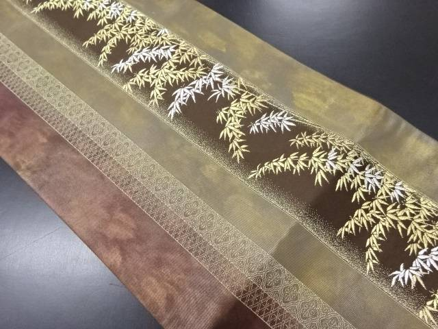 【IDN】 引箔金銀糸縞に竹笹模様織り出し袋帯【リサイクル】【中古】【着】