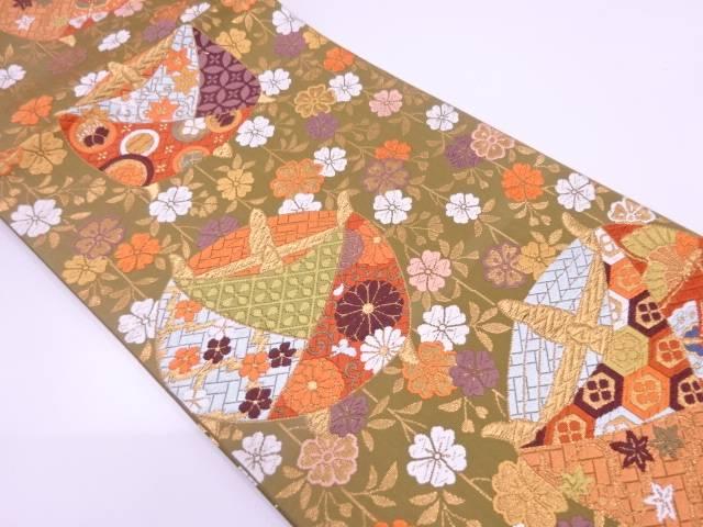 【IDN】 未使用品 河合美術織物製 唐織糸巻きに桜模様織出し袋帯【リサイクル】【着】