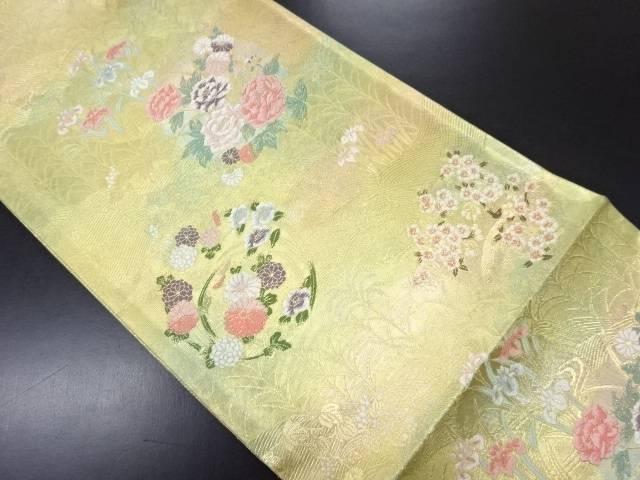 【IDN】 未使用品 花丸文に菖蒲模様織り出し袋帯(未仕立て)【リサイクル】【着】
