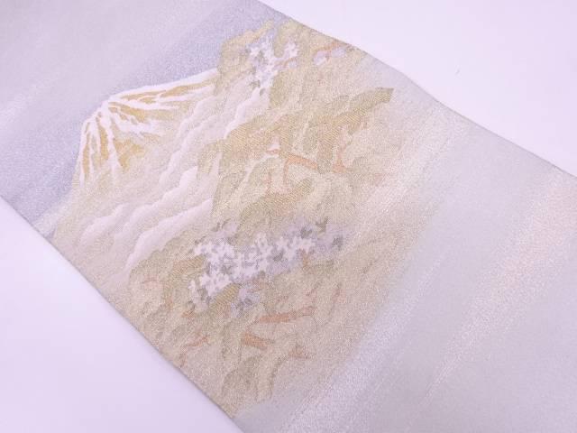 【IDN】 綴れ霞に山・樹木風景模様織出し袋帯【リサイクル】【中古】【着】