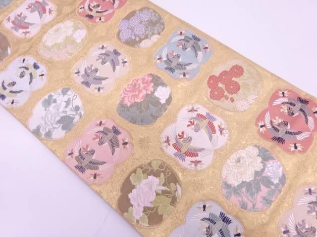 【IDN】 向かい鳳凰に牡丹・菊模様織出し袋帯【リサイクル】【中古】【着】