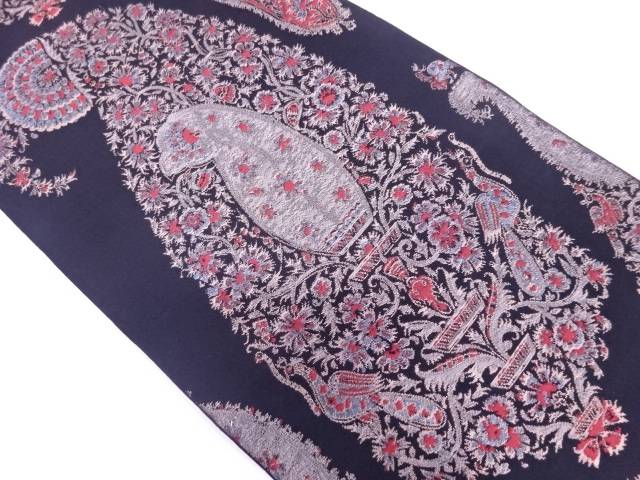 【IDN】 織悦製 花鳥模様織出し全通袋帯【リサイクル】【中古】【着】