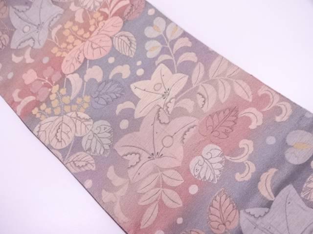 【IDN】 纐纈桐に草花模様織出し暈し袋帯【リサイクル】【中古】【着】