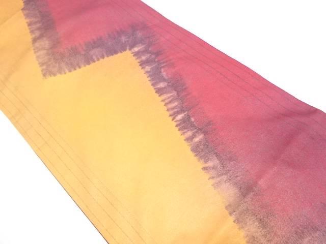 【IDN】 絞り縞に抽象模様全通袋帯【リサイクル】【中古】【着】