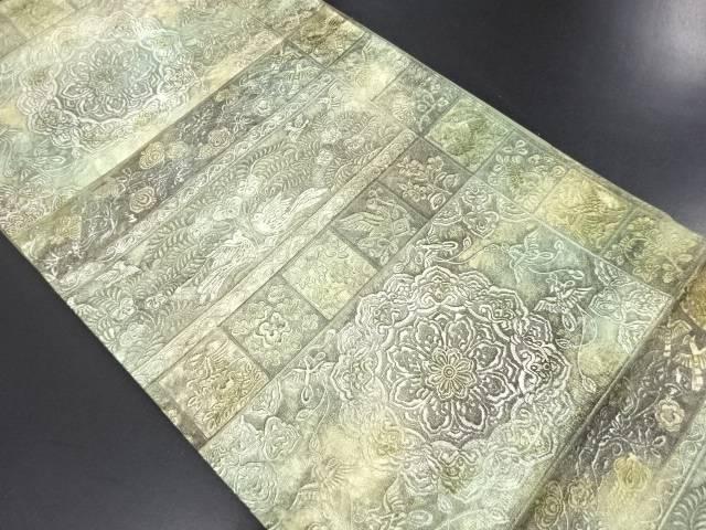 【IDN】 本唐皮横段に華紋・花鳥更紗模様袋帯【リサイクル】【中古】【着】