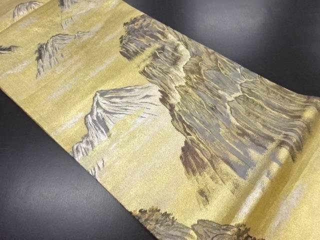 【IDN】 岩谷直山作 本金箔遠山風景模様織り出し袋帯【リサイクル】【中古】【着】