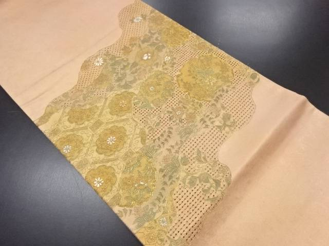 【IDN】 汕頭蘇州刺繍霞取りに花模様袋帯【リサイクル】【中古】【着】
