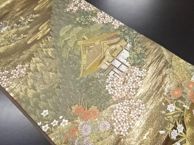 【IDN】 本金箔草花に寺院風景模様織り出し袋帯【リサイクル】【中古】【着】