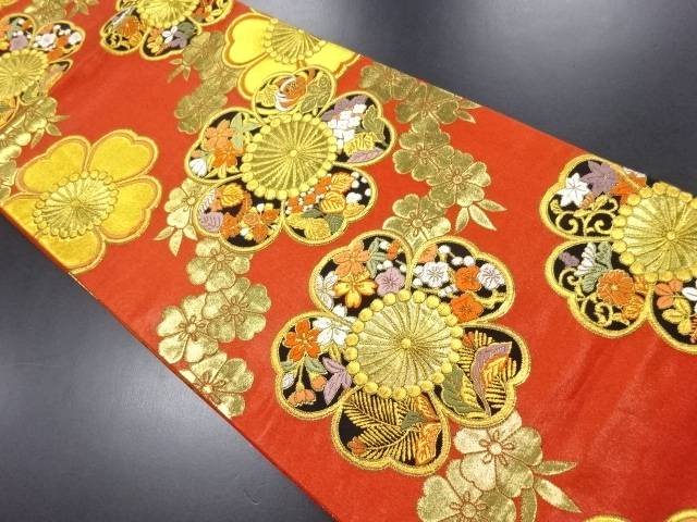 【IDN】 金糸八重梅に草花模様織り出し袋帯【リサイクル】【中古】【着】