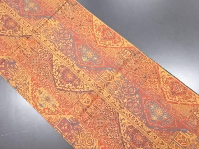 【IDN】 縞に華紋更紗模様織り出しリバーシブル全通袋帯【リサイクル】【中古】【着】
