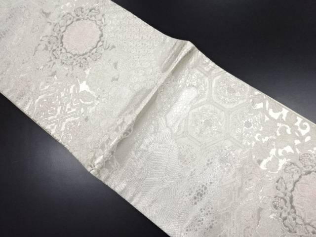 【IDN】 銀糸霞取りに華紋織り出し袋帯【リサイクル】【中古】【着】