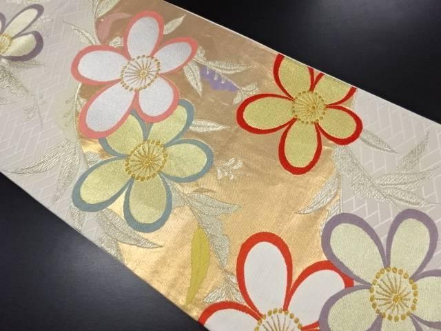 【IDN】 変わり枝垂れ花模様織り出し袋帯【リサイクル】【中古】【着】