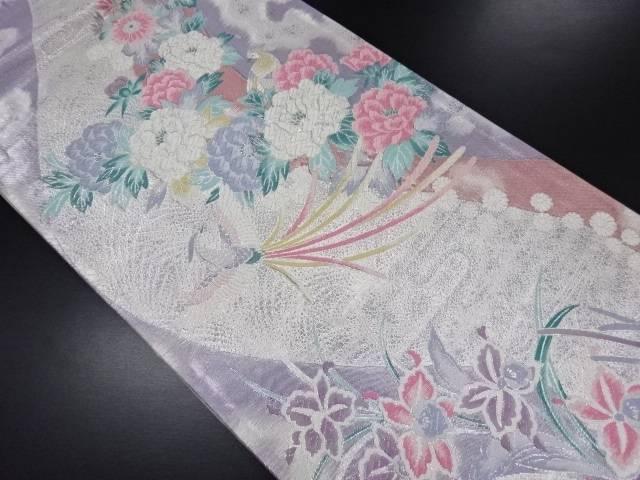 【IDN】 銀糸流水に花鳥模様織り出し袋帯【リサイクル】【中古】【着】