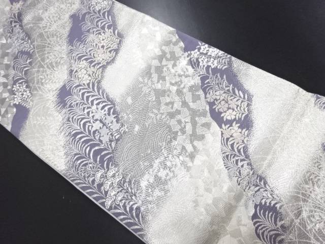 【IDN】 志織製 銀糸 道長取に秋草模様織り出し袋帯【リサイクル】【中古】【着】